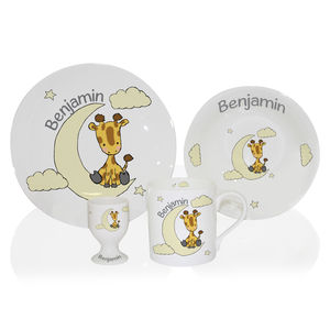 Giraffe Bone China Personalised Childrens Breakfast Set