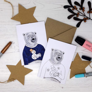Colour Me In Jumper Polar Bear Card