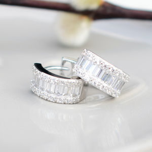 Baguette And Pave Cubic Zirconia Hoop Earrings - valentine's gifts for her