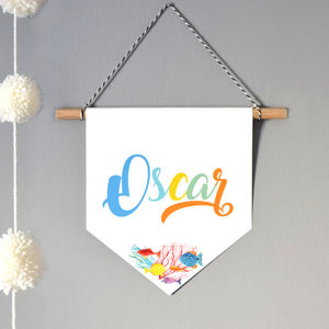 Colourful Name Wall Hanging With Coral Reef Watercolour