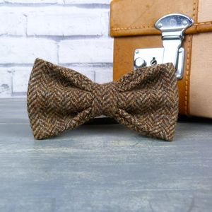 Yorkshire Herringbone Tweed Bow Tie - ties & tie clips