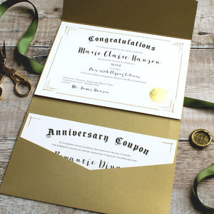 First Anniversary Paper Wife Certificate And Coupons