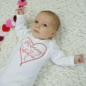 Mummy's Valentine Baby Sleepsuit - clothing