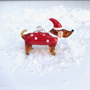 Christmas Glass Dachshund