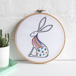 Hare Contemporary Embroidery Craft Kit - traditional toys & games