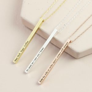 Personalised Shiny Vertical Bar Necklace - necklaces & pendants