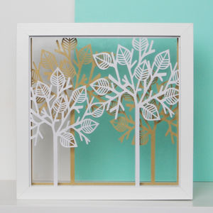 Framed Papercut Trees Art