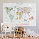 World Map With Animals Poster Sticker Grey