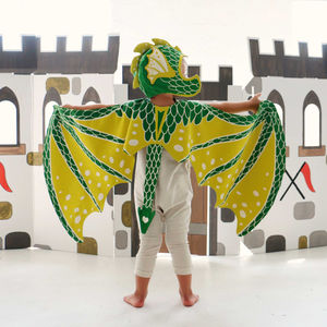 Green Dragon Wing And Hat Set - pretend play & dressing up