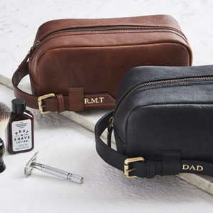 Leather Wash Bag With Buckle - personalised