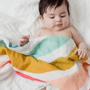Rainbow Muslin Swaddle Blanket