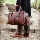 'Oxley' Extra Water Resistant Leather Weekend Bag Pecan