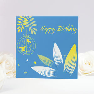 Botanical Bird Cage Birthday Card
