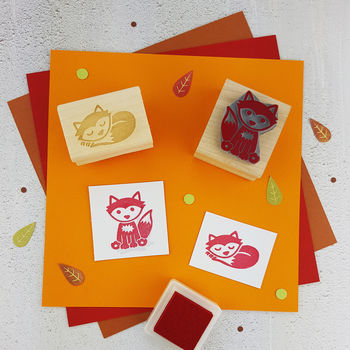 Woodland Fox And Sleepy Fox Rubber Stamps