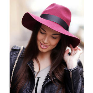 Burgundy Wool Fedora - women's accessories