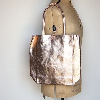 Rose Gold Metallic Soft Italian Leather Tote