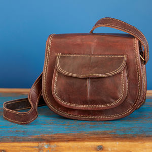 Curved Small Dark Brown Leather Saddle Handbag - bags