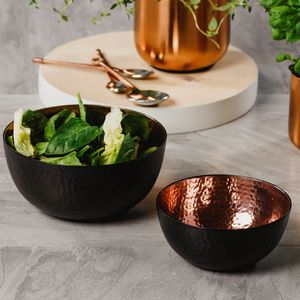 Black And Copper Hammered Bowl Set