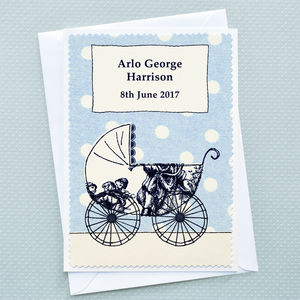 'Baby Boy Pram' Personalised New Baby Card