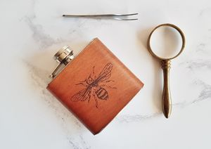 Honey Bee Leather Flask - hip flasks