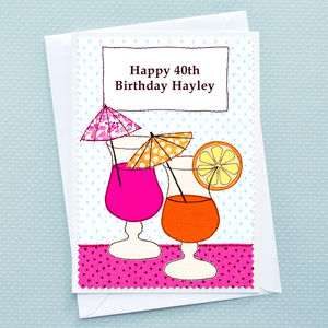 'Cocktails' Girls Personalised Birthday Card
