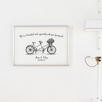 Personalised Tandem Bike Wedding Print