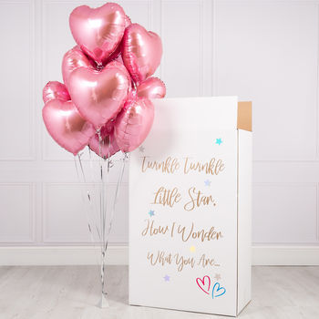 Inflated Gender Reveal Box Of Pink Hearts