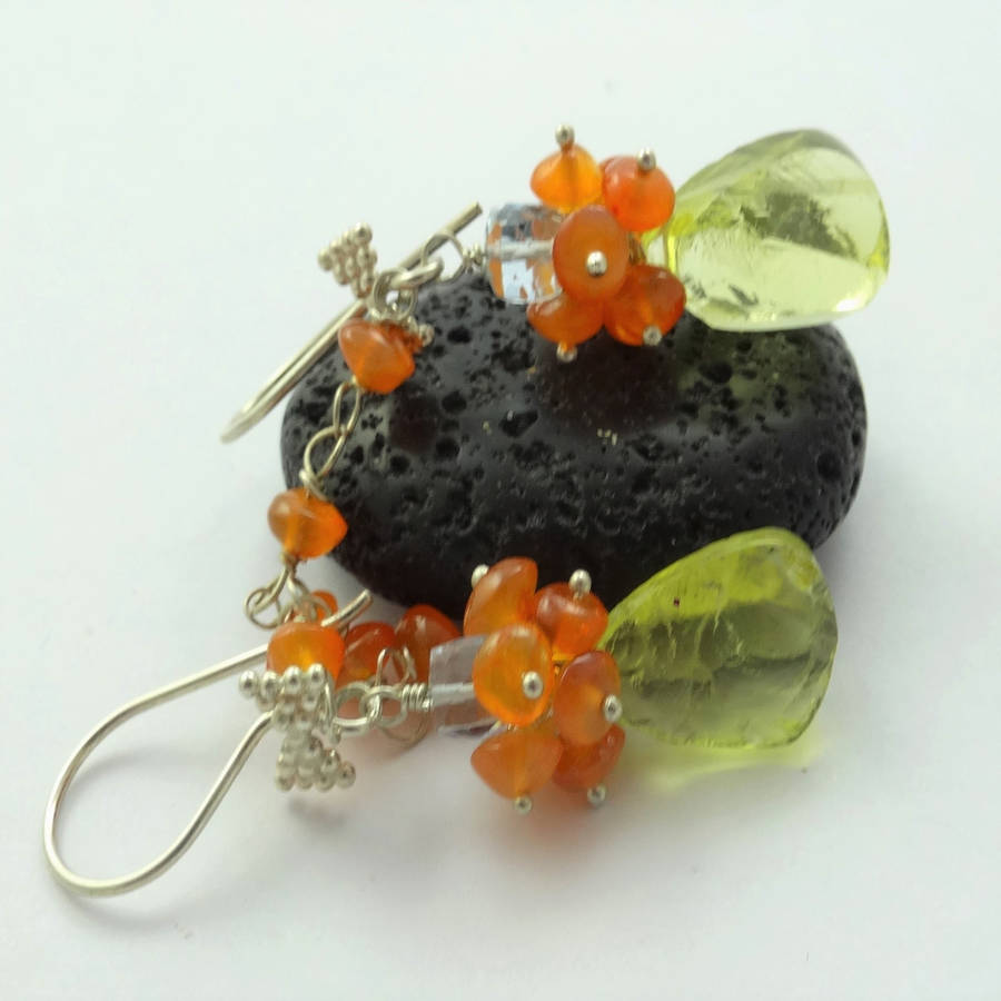 Rough Lemon Quartz Carnelian Earrings