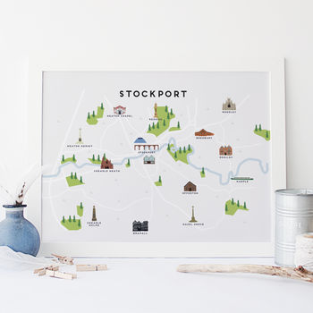 Map Of Stockport Print