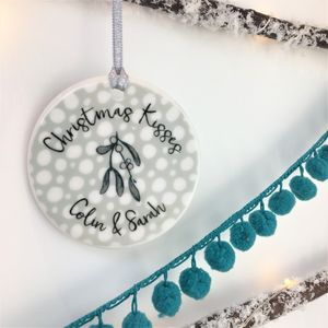 Ceramic Couple Christmas Kisses Mistletoe Bauble - baubles & hanging decorations