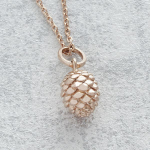 Rose Gold Pine Cone Pendant Necklace - new in jewellery