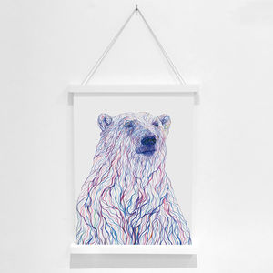 Polar Bear Pencil Illustration Fine Art Print - children's pictures & paintings