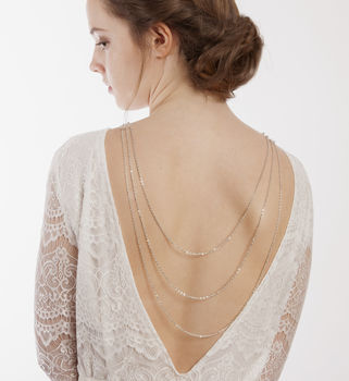 Silver Bridal Necklace For The Back
