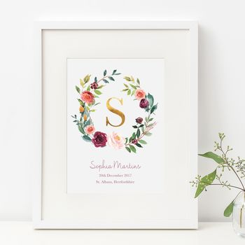 Autumn Rose Wreath Gold Foil Initial New Baby Print