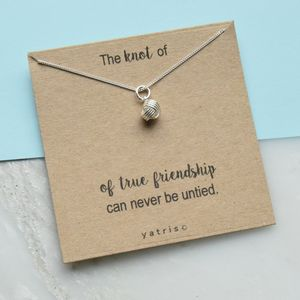 Knot Of True Friendship Silver Necklace Gift Box