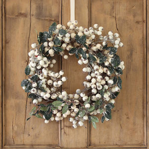White Snowberry Christmas Wreath - flowers, plants & vases