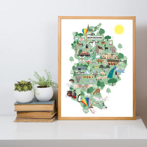 Bedfordshire's Sights Illustrated Map Print