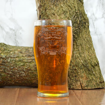 Engraved Pint Glass For The Father Of The Bride