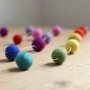 Rainbow Felt Ball Garland White Thread