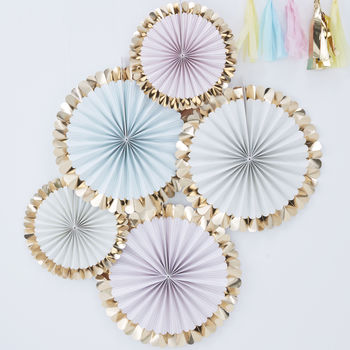 Pastel Gold Foiled Party Celebration Fan Decorations