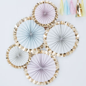 Pastel Gold Foiled Party Celebration Fan Decorations - hanging decorations