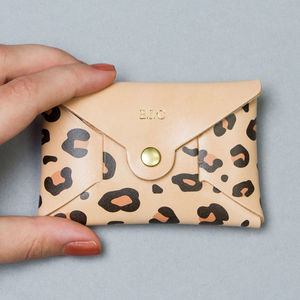 Personalised Leopard Print Leather Coin Purse Natural - birthday gifts with free mainland uk delivery