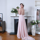 Pink Backless Double Straps Chiffon Dress With A Train