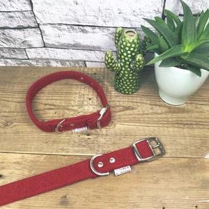 Red Harris Tweed Dog Collar - pet collars