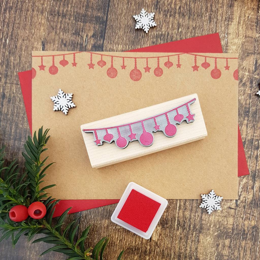 Christmas String Of Baubles Rubber Stamp