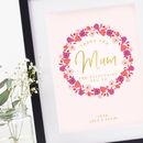 Gift For Mum Personalised Floral Foil Print
