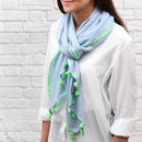 Green trim personalised contrast tassel scarf