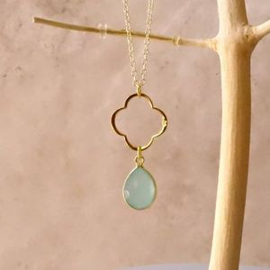 Aqua Chalcedony March Birthstone Necklace - necklaces & pendants