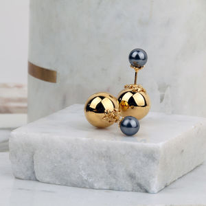 Orb And Pearl Stud Earrings - wedding jewellery
