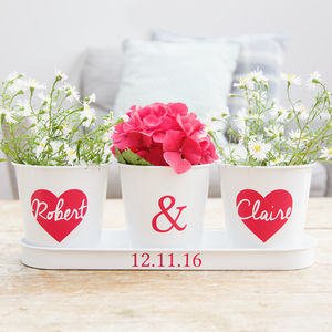 Personalised Heart Tray And Pots - personalised wedding gifts